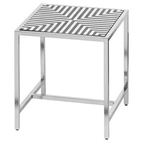 MODERN BLACK WHITE SILVER BONE INLAY SQUARE SIDE END LAMP TABLE (H21131)
